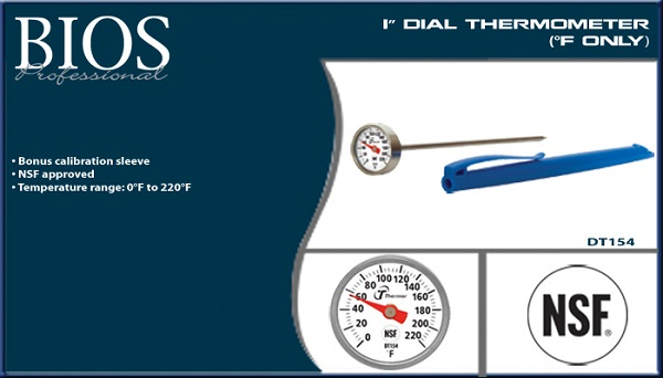 "Thermometer, 1"" Dial, Fahrenheit only"